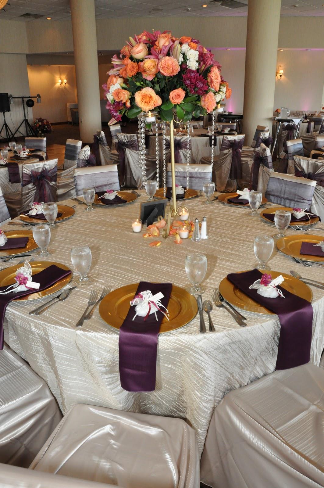 Sangria, Tangerine & Gold Wedding Reception Decor